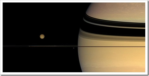 Titan above Saturn's rings