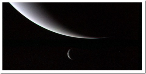 Triton below Neptune