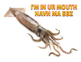 Squid inseminates woman's mouth!